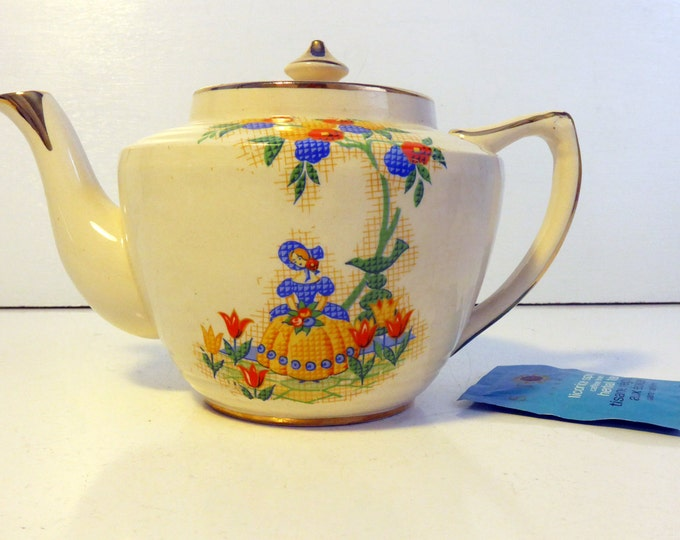 Arthur Wood Teapot Girl & Floral Design - Vintage Tea pot Mid century Orange Red Blue Flowers #3886 on Cream w/ Gold - Kitchen / Home Decor