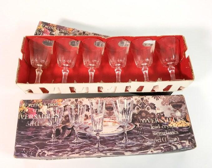Vintage Set 6 Versailles Cordial Glasses CRISTAL D'arques-Durand Clear Fan Cut Bowl Multi sided Stem Original Box