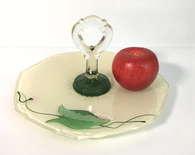 Vintage Green Glass Center Handle Tray w/ Hand Painted Flower - Retro Depression Pressed Glass Sandwich Serving Dish Circa 1940s