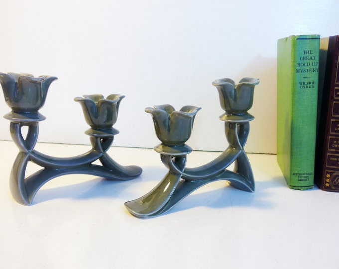 Vintage Roselane Double Candleholder - Green Gray Flower shape Candle Holders - Roselane Pottery Mid century Candlestick Holders Home Decor