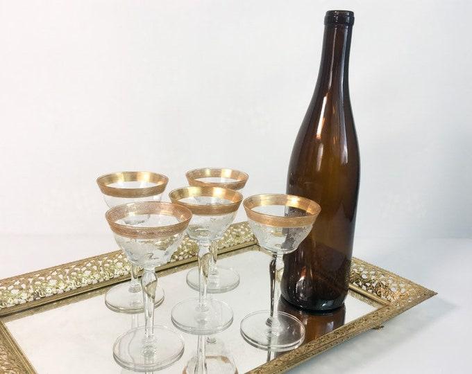 5 Vintage Gold Rimmed Wine Glasses - Five Retro Wine Glasses - Vintage Glasses