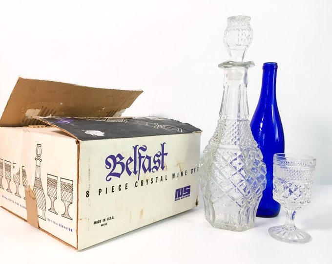 Vintage Belfast Crystal 8 PC Decanter Set - Retro 6 Wine Glasses w/ Decanter & Stopper in Box 1976