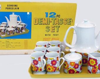 Vintage 1970s Mod 12 Piece Demitasse Set w/ Tray - Flower Power Coffee Pot 6 Cups Sugar Creamer Tray - Mod Flower Red Orange Yellow Set