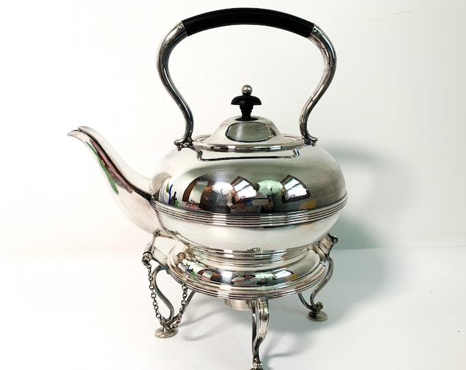 Antique English Spirit Tea Kettle / Silver Plate Teapot on Stand - Victorian Serving Retro Entertaining Vintage Kitchen Home Decor