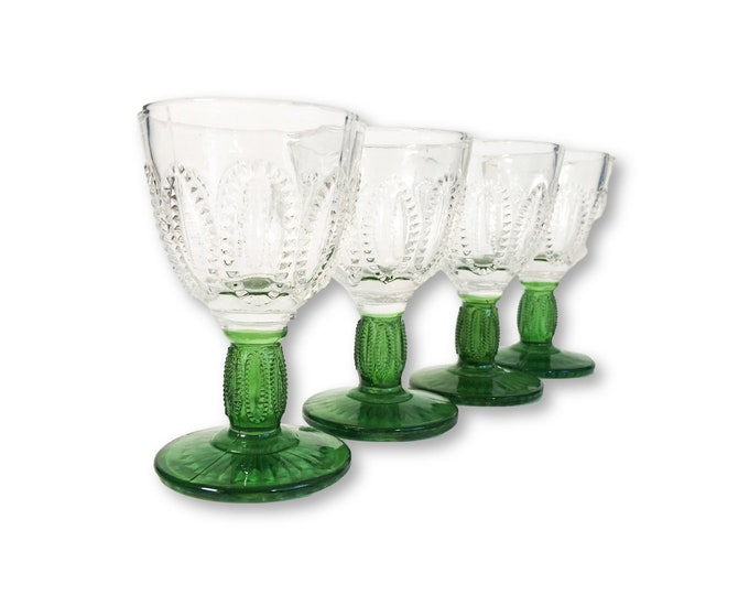 Vintage Emerald Accent 6 Cordials, W/ Green Stem Beaded Design Glasses Barware Six Retro Avon made by Fostoria - Cocktail Glasses Set of Six