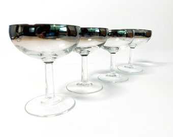 Vintage Set of 4 Silver Ombre Rim / Champagne Tall Sherbet Coupe Glasses - France Mid Century