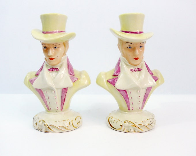 2 Vintage English Gentleman Ivory w/ Mauve in Top Hats - Mid century Home Decor - Pair Ceramic Busts or Bookends of Men