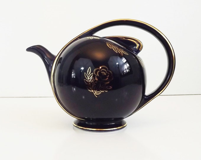 """Vintage Asian Hall """"Airflow"""" Cobalt Blue Teapot 1940's - Gold Trim with Roses and Leaves - Collectible Porcelain / China Tea or Coffee Pot"""