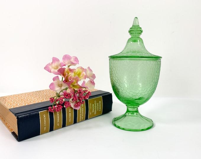 Vintage Green Crackle Glass Depression Glass Candy Jar w/ Lid - Round Swirl Glass Dish w/ Lid Ornate Knob