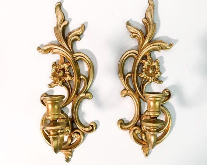 2 Vintage Gold Ornate Syroco Wall Sconces - Pair French Provincial Candle Holders - Shabby Chic Mid Century Matching Wall Sconces Dated 1971