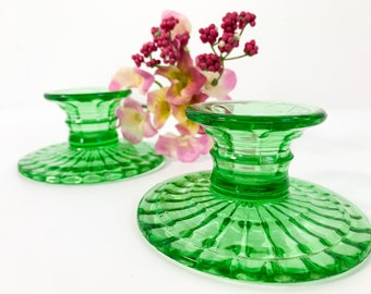 2 Vintage Green Depression Glass Candlestick Holders - Pair Retro Low Short Candle Holders Boxes Base Design Home Decor