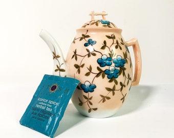 Vintage Ceramic Teapot Peach White & Blue Flowers - Small Retro Japanese Theme Tea Pot w/ Gold Trim