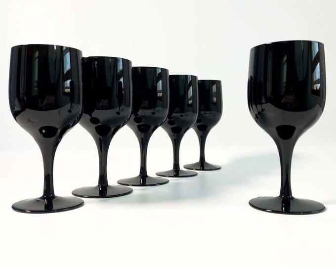 Vintage Set of 6 Black Stemmed Wine Glasses - Viewpoint by Noritake Mod Shaped Wine Glasses - Mid Century Modern Serving Entertaining