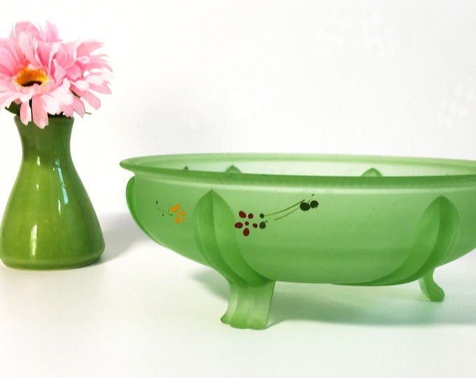 Vintage Green Satin Uranium Glass Bowl w/ Hand painted Flowers & Pedestal Feet -  Retro Kitchen Serving Home Decor - Vaseline Glass