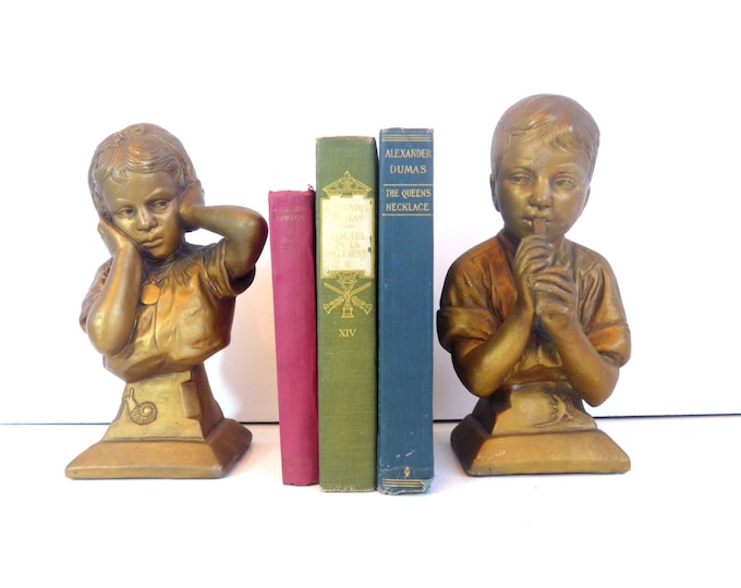 Vintage E. Villanis Statues Signed - Bust of Music Lessons w/ Boy Playing Flute and Girl Covering Her Ears