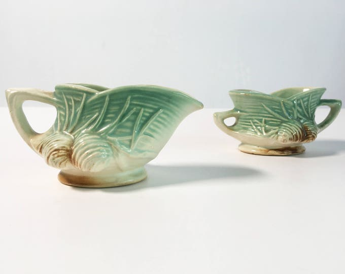 Vintage Pine Cone McCoy Sugar & Creamer - Retro Green Ivory Brown Open Sugar Bowl and Creamer  Set w/ Handles - Pine Cone by Mccoy, Nelson