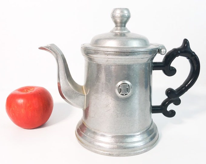 Vintage Wilton Armetale RWP Coffee Pot with Black Handle - Liberty Armetale Coffee Pot, Teapot or Pitcher Dome Hinged Lid