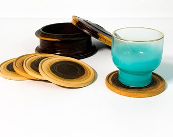 Vintage Set 5 Carved Ebony Coasters in Round Wooden Box w/Lid Cottage Chic - Retro Home Decor Entertaining Serving Hardwood Coaster Set