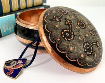 Vintage Copper & Enamel Trinket or Small Jewelry Jar / Box - Black Etched Floral on Lid 2 Pc - Retro Bedroom Bathroom Decor