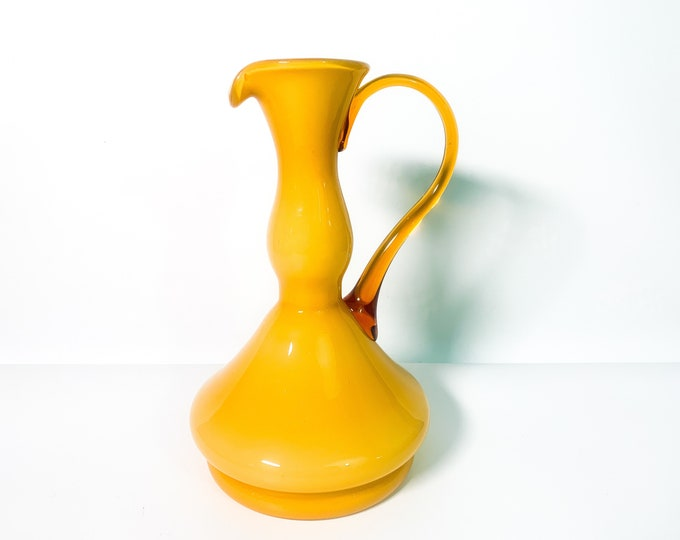 Vintage Tall Art Glass Pitcher Yellow w/ Amber Handle - Hand Blown Italy Murano Style Cased Glass - Mid century Home Decor - Mod Large Ewer