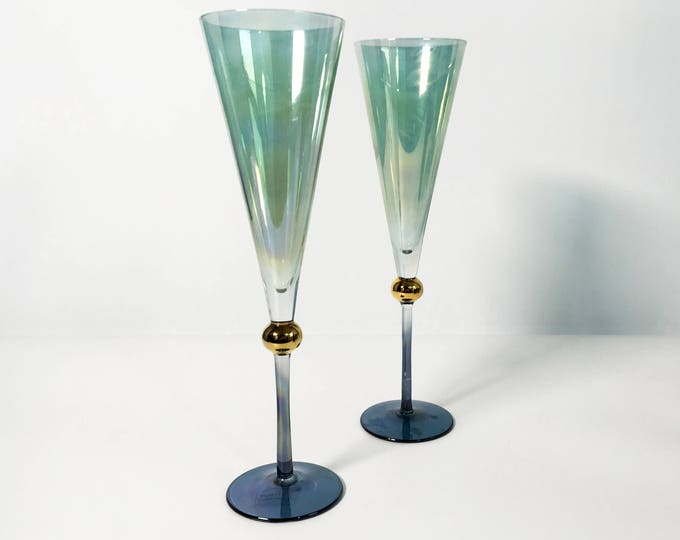 2 Vintage Champagne Flutes Illusions Made in Italy Glasses - Pair Tall Green and Blue Glass Flutes w/ Gold Wafer/Ball - wedding decor toast