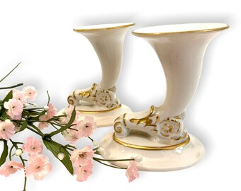 2 Vintage Off-White & Gold Ceramic Small Horn Vases or Two Candle Holders - Pair Petite Matching Vase w/ Gold Trim - Retro Home Decor