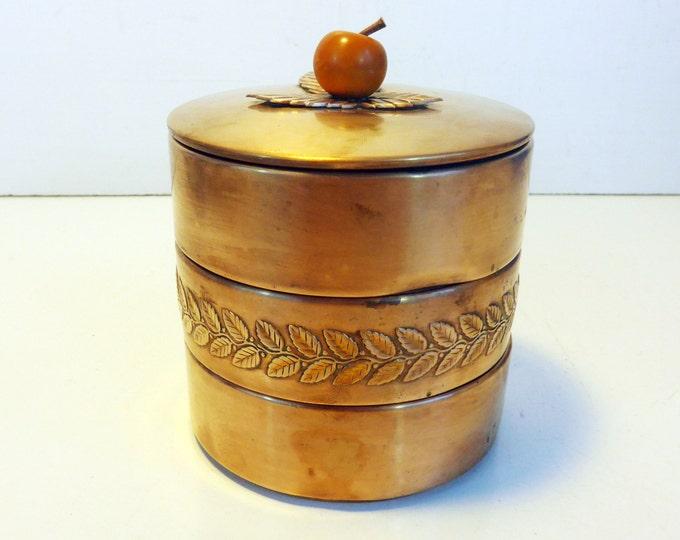 Chase USA Copper & Butterscotch Bakelite Apple 4 Pc Trinket / Storage Box w/ Lid - Art Deco Vintage Copper Container w/ Bakelite Knob