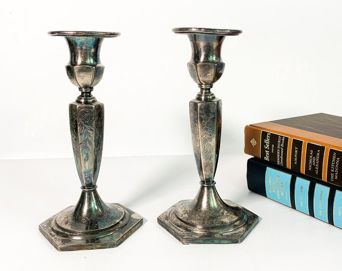 Pair Antique Etched Floral Candlestick Holders Ornate Flower Floral 1900s 2 Vintage Retro Silver Plate Home Decor Candle Holders Shabby Chic