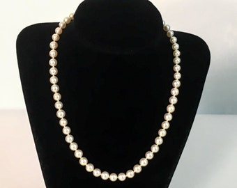 "Vintage Pearl Necklace w/ Sterling Silver Clasp - 17"" Long Single Strand w/ 6-7 mm Sized Pearls Individually Hand Knotted - Retro Classic"