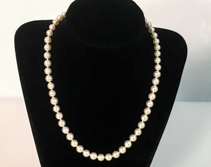 """Vintage Pearl Necklace w/ Sterling Silver Clasp - 17"""" Long Single Strand w/ 6-7 mm Sized Pearls Individually Hand Knotted - Retro Classic"""