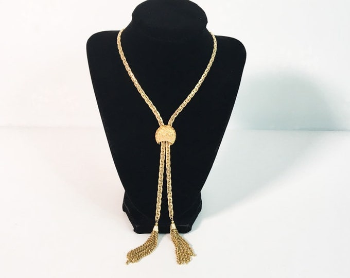 Vintage Corocraft Signed Lariat Slide Necklace - Long Gold Tone Metal Slide Necklace w/ Two Tassels Retro Jewelry - Coro Company Costume