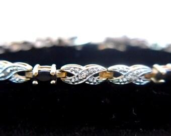 Vintage Vermeil Bracelet 925 Sterling Silver with 7 Blue Topaz Stones & Diamond Chips - Retro Tennis Bracelet Vintage Jewelry