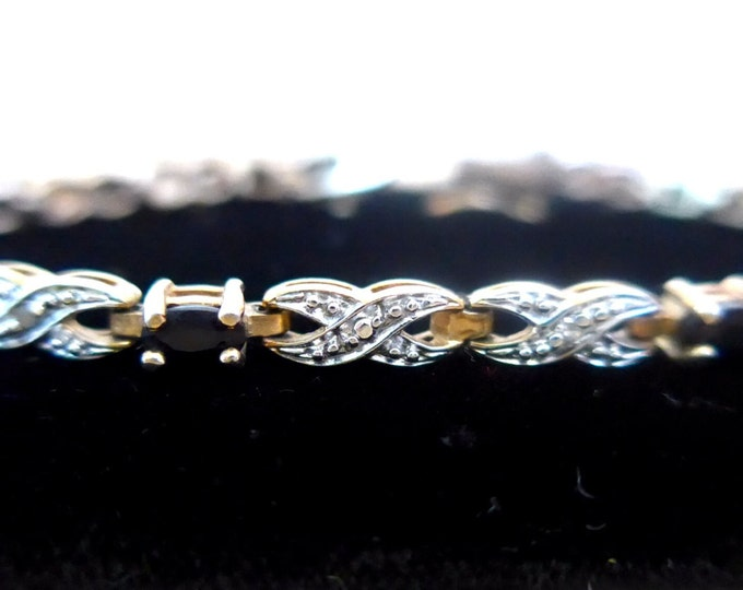 Vintage Vermeil Bracelet 925 Sterling Silver with 7 Blue Topaz Stones with Diamond Chips - Retro Tennis Bracelet Vintage Jewelry