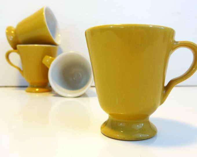 4 Vintage Sterling Vitrified Pedestal Mugs - Restaurantware Set of 4 Dark Yellow / Mustard Color Footed Mugs Cups - Very Retro & Kitsch!