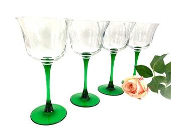 4 Vintage Cristal D'Arques Durand Americana Emerald Green Stem Wine Glasses France - Four Clear Wide Bowl Set - Retro  Luminarc Stemware