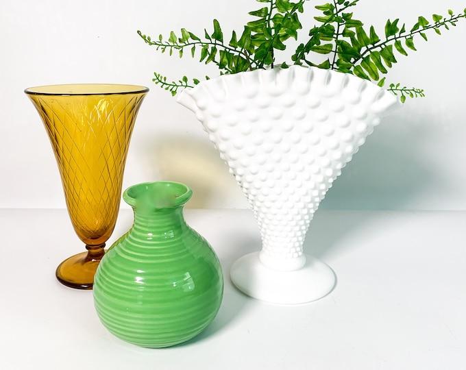 "Vintage 8"" Fenton White Hobnail Crimped Fan Vase - Retro Milk Glass Crimped Flared Home Decor"