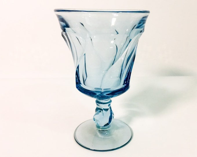 Single Light Blue Noritake Sweet Swirl Glass / Goblet - Noritake Light Blue Tall Pressed Glass