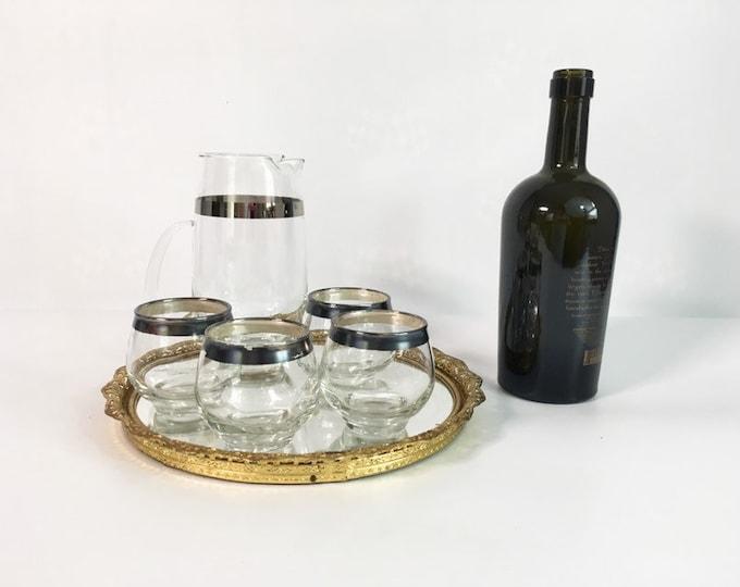 Vintage Libbey Rock Sharpe Wide Platinum Rim Martini Set - 4 Roly Poly Glasses w/ Pitcher - Mad Men Era Mid Century Barware