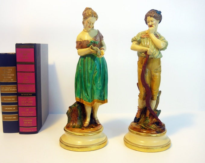 Vintage Borghese Figurines - Man & Woman Peasant Couple Statues Chalkware Cast Plaster - Home Decor Original Stickers Intact - # 70