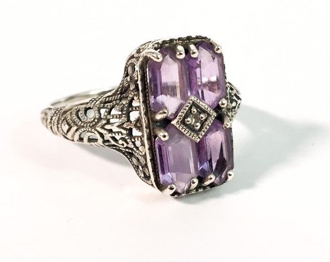 Art Deco Style Ornate Sterling Silver Amethyst & Diamond 925 Ring - Retro Jewelry Purple Gem Stone 925 Statement Hallmarked