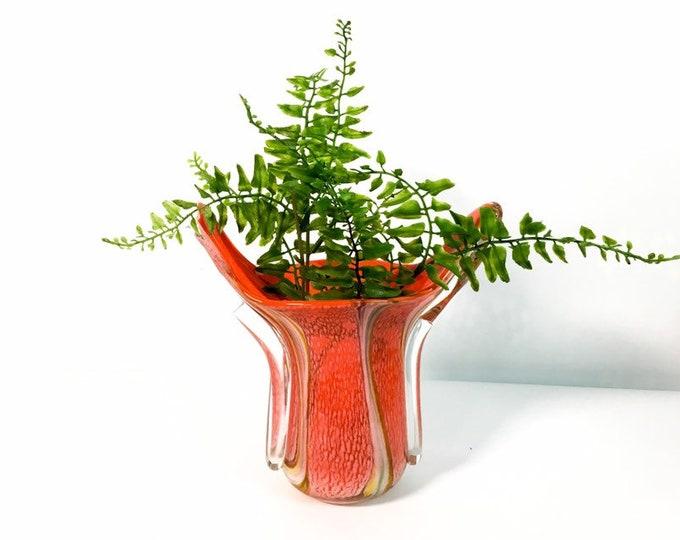 Vintage Murano Art Glass Vase - Orange Brown Green White Clear Cased Glass Swirl Bowl - Possible Murano Italy - Retro Home Decor Mod Modern