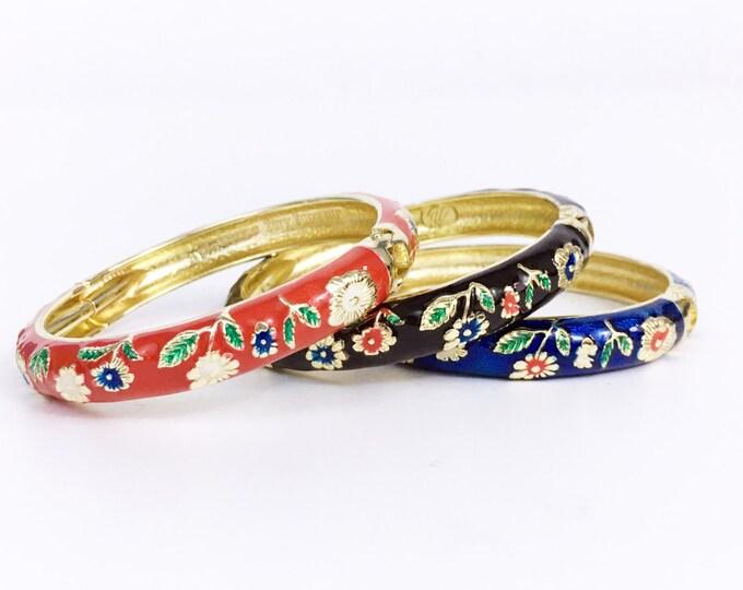 Floral Cloisonne Bracelets - Set of 3 Matching Hinged Bangle Bracelet - Stackable Color Enamel Jewelry - Flowers Floral Design Vintage Retro