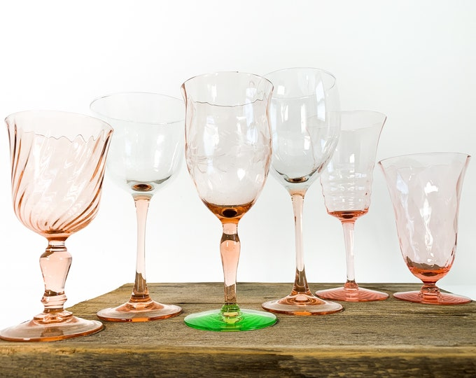 2nd Time Around Vintage Set 6 Pink Glasses - Unique Retro Collection / Depression & Combination Barware Stemware