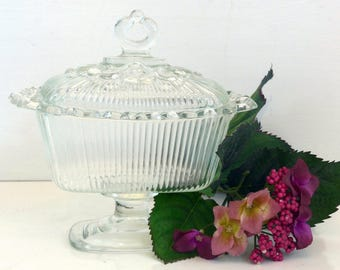 Vintage Clear Glass Pedestal Covered Candy Dish Lace Edging - Wedding Decor - Unusual Mid Century Lidded Candy Dish Compote