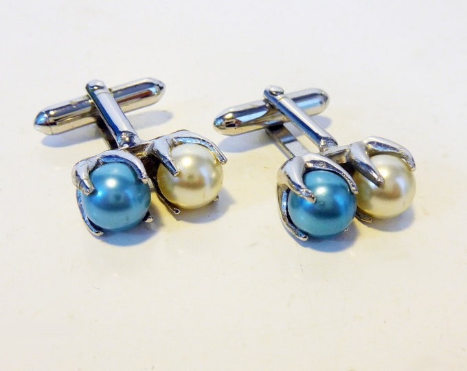 Vintage Blue & White Pearl SWANK Cufflinks - Two Faux Pearls Silver Tone Metal Retro Men's Cuff Links - Hallmarked Swank Men's Cufflinks