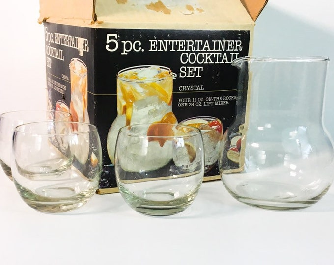 Mid century 4 Pc Cocktail Set Federal Glass Co. Rocks Roly Poly Glasses & Lipt Mixer in Box - Mad Men Era