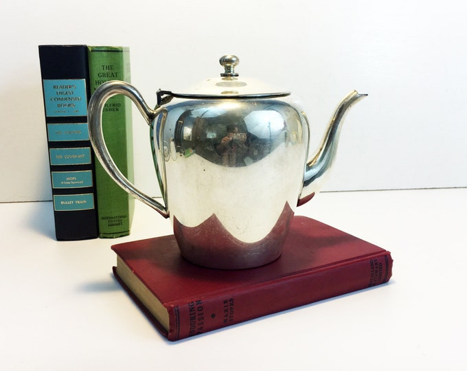 Antique Gotham Silver Plate on Copper Teapot/Coffee Pot - Silver Plated French Cottage Chic Coffee Pot Tea Pot Kitchen Decor Collectible