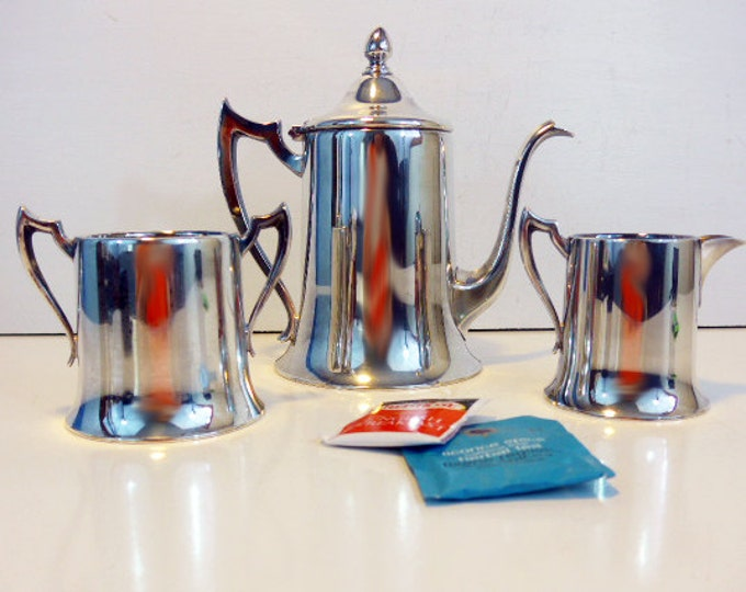 Vintage TEA SERVICE Silver plate Teapot Creamer & Sugar by Armor Co EPC - Silverplate Tea Service or Coffee Pot w/ Sugar and Creamer