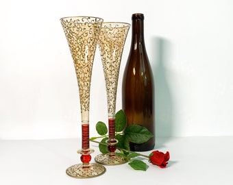 Vintage Pair Tall Fluted Champagne Wine Glasses - 2 Large Gold Encrusted Flutes w/ Red Wafer on Clear Glass Rioja - Pier 1
