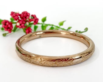Vintage Antique Bangle Bracelet w/ Etched Floral Design on Front - Retro GF Cuff Bracelet Bangle Stacking Layer - Retro Jewelry